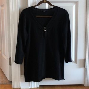Black sweater with zipper detail on front